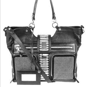Balenciaga Black Leather Studded Motorcycle Bag